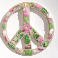Shell Peace Sign Wall Art Beach Decor Girl's Room Flower Power Dorm Hippie Decor 60's Era Retro