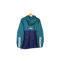 90s ADIDAS windbreaker jacket - vintage 1990s - pullover - hood - parka - lightweight - teal - 3 stripe logo - embroidered spell out patch
