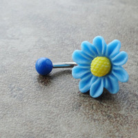 Light Blue Chrysanthemum Flower Belly Button Jewelry