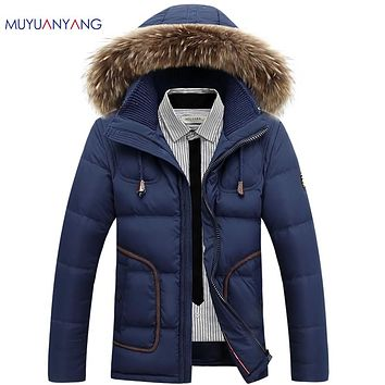 Winter Men's Duck Down Jackets Men Casual Thicken Down Jackets Thicken Snow Zipper Coats Overcoat