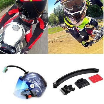Gopro Accessories Mount Motorcycle Cycling Helmet Extension Arm + Buckle + 3M Sticker For Gopro Hero 1 2 3 SJ4000 SJ6000 Camera