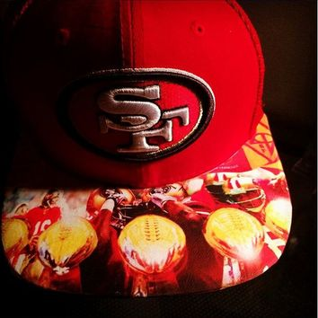 San Francisco 49ers Championships Edition Custom Brim Snapback or Fitted Hat