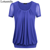 Lotusmile Women Summer Mesh Tops Feminine Short Sleeve Blouses Plus Size Loose Shirt Fashion Pleated Blouse Work Wear Blusas