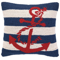 Lake Stripes Navy Red Anchor Nautical Pillow
