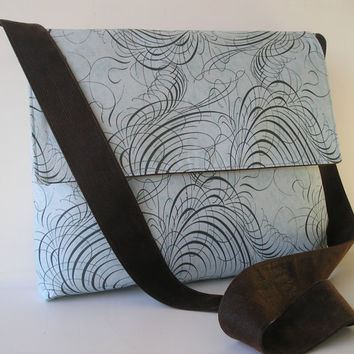 Messenger Bag in Teal swirls and Brown by jazzygeminis on Etsy