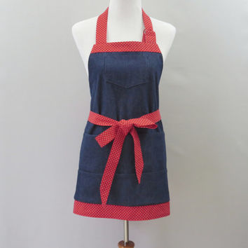 Womens Denim Apron, Full Short Apron, Project, Teacher, Gardening, Vendor, Large Pockets, Mother's Day, Birthday Gift for Her