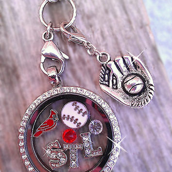 Baseball Floating Keepsake Glass Locket