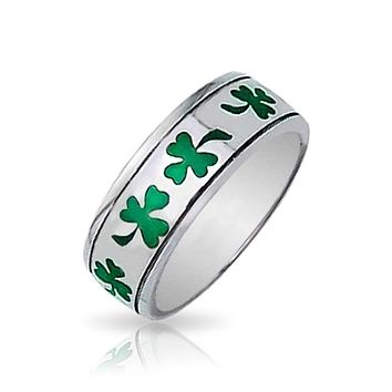 Couples Celtic Lucky Irish Green Leaf Shamrock Irish Clover Band Ring