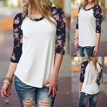 Women's Casual Floral Print Loose 3/4 Sleeve Splice Tops Blouse T-Shirts [8833925772]