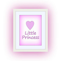 Little Princess, Pastel Pink Baby, Nursery Printable Wall Art, home decor, room decal, Inspirational Quote decals, heart print, poster deco