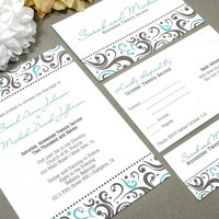 Swirl Dot Border | Modern Wedding Invitation Suite by RunkPock Designs | Elegant Swirled Script Calligraphy Invitation Design | shown in dark brown and teal turquoise