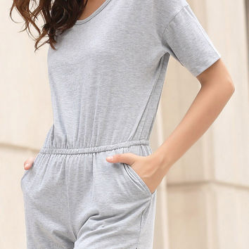 Gray Short Sleeve High Waist Romper
