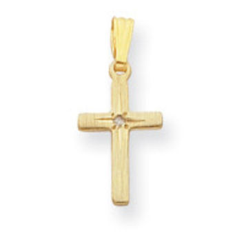18in Gold-plated Small .01 Ct. Diamond Cross Necklace KW385