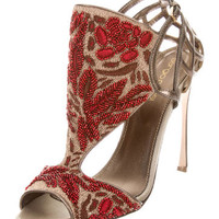 Sergio Rossi Beaded Cuout Booties w/ Tags