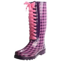 Sugar Women`s Tied Up Rubber Rainboot,Purple/Pink,8 M US