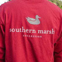 Collegiate Authentic Long Sleeve Tee in Crimson with Houndstooth by Southern Marsh