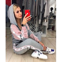 SUP Supreme Women Fashion Long Sleeve zipper Jacket Pants Two-Piece