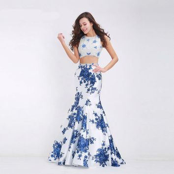 Elegant Blue Evening Dresses Two-piece O-neck Beading Formal Long Mermaid Party Gowns