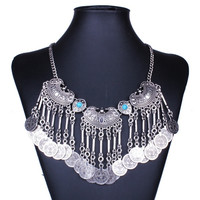 Statement Vintage Necklace Gypsy Ethnic Tassel Jewelry Bohemian Silver Plated Coin Necklaces Collar Chokers MD030 = 1928601668