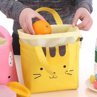 Popular Thermal Insulated 3 Color Kawaii Cartoon Face Tote Cooler Bag Bento Picnic Pouch Lunch Box Lunch Container