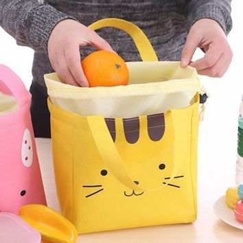 Popular Thermal Insulated 3 Color Cartoon Face Tote Cooler Bag Bento Picnic Pouch Lunch Box Lunch Container