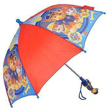 Paw Patrol Marshall, Tan & Chase Allover Print Red 22 IN Umbrella- Chase Handle