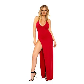 Roma 3800 - Maxi Length Dress with Deep V Detail and High Slit