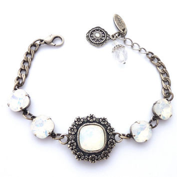 White Opal Swarovski crystal bracelet, cushion cut with ornate flower detailing, chain link bracelet, Siggy Jewelry