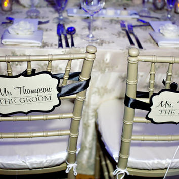 Personalized Sweetheart Table Chair Signs for the Bride & Groom