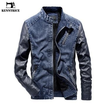 KENNTRICE Men Patchwork Denim Jacket With Leather Sleeve Coat Warm Windproof Vintage High Quality Men's Jean Jacket