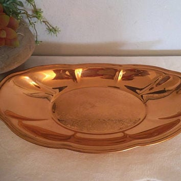 Vintage Copper Tray ~ Lovely Oblong Vanity tray ~ Mid Century Modern Decoration