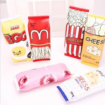 DCCKL72 Food packaging kawaii Macaron Cookie pencil case PU leather school pencil bag for girl stationery estojo escolar school supplies
