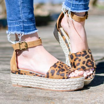 Leopard Scallop Espadrille Shoes