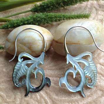 "Tribal Hanging Earrings, ""Iridescent Ivy"" Naturally Organic, Black Mother of Pearl, Hand Carved"