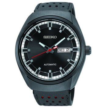 Seiko SNKN45 Men's Recraft Black Dial Black Leather Strap Automatic Day Date Watch