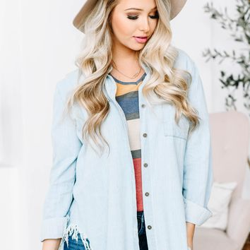 Frayed White Wash Button Up Top