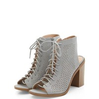 Grey Suedette Laser Cut Out Ghillie Block Heels