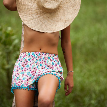 Pom Pom Shorts, Pink & Aqua Daisy Print with Large Aqua Pom Pom Trim Pants, High Waisted Shorts, Beach Shorts