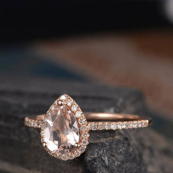 Pear Shaped Engagement Ring Morganite Rose Gold Ring Diamond Halo Half Eternity Women Delicate Tear Ring Pave Bridal Ring Anniversary Gift