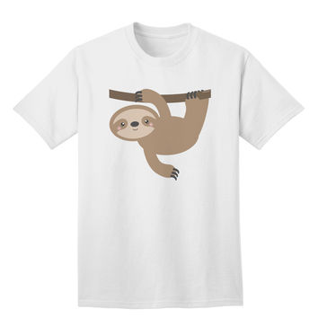 Cute Hanging Sloth Adult T-Shirt