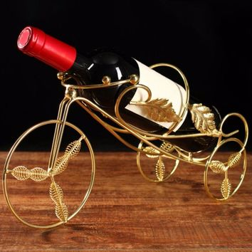 Innovative Tricycle Style Wine Racks Handmade Plating Fashion Wine Rack Beer Whisky Wine Bottles Holder Decor Shelf Display