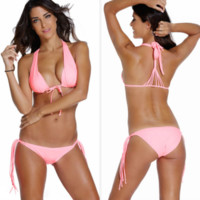 Hot deep V pure color pink knot two piece bikinis swimwear bath suit