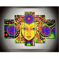 Frame Canvas Psychedelic Mandala Abstract Paintings 5 Panels Wall Art Home Decoration Poster Wall Pictures For Living Room