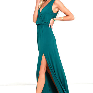 Racing Hearts Forest Green Maxi Dress