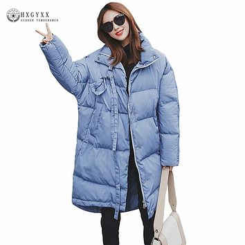 New Fashion Loose Winter Jacket Woman 2017 Long Warm Down Cotton Padded Coat Plus Size Pure Color Zipper Military Parka Okb353