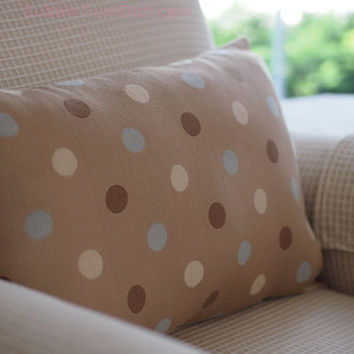 Home Decor PolkaDot Pillow Beige with Cream, Taupe Brown & Sky Blue Dots