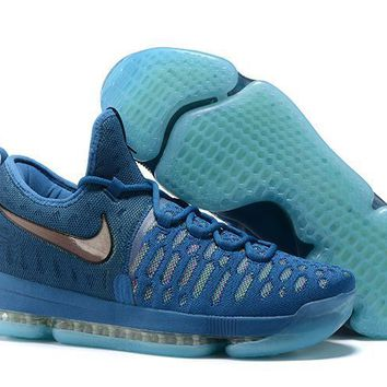 2017 Nike Zoom Kd 9 Kevin Durant Lake Blue/ Fluorescent Green Men's Basketball Shoes - Beauty Ticks