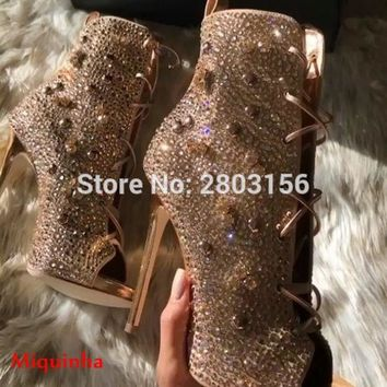 Rhinestone Peep Toe Shoes Women High heels Stiletto Heel Gladiator Sandals Boots Ladies Crystal Lace Up ankle booties