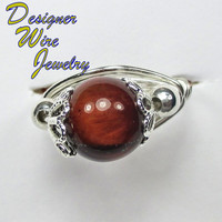DWJ0152 Lovely Genuine Red Tiger Eye Silver Wire Wrap Ring All Sizes