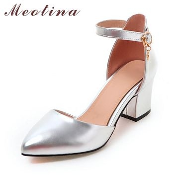 Meotina Shoes Woman 2017 New High Heels Spring Ladies Pumps Autumn Two Piece Thick Heels Footwear Ankle Strap Shoes Sliver 34-43
